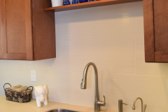 Residential Kitchen Counter of Solid Surface with Undermount Stainless Steel Sink. DIY Created.
