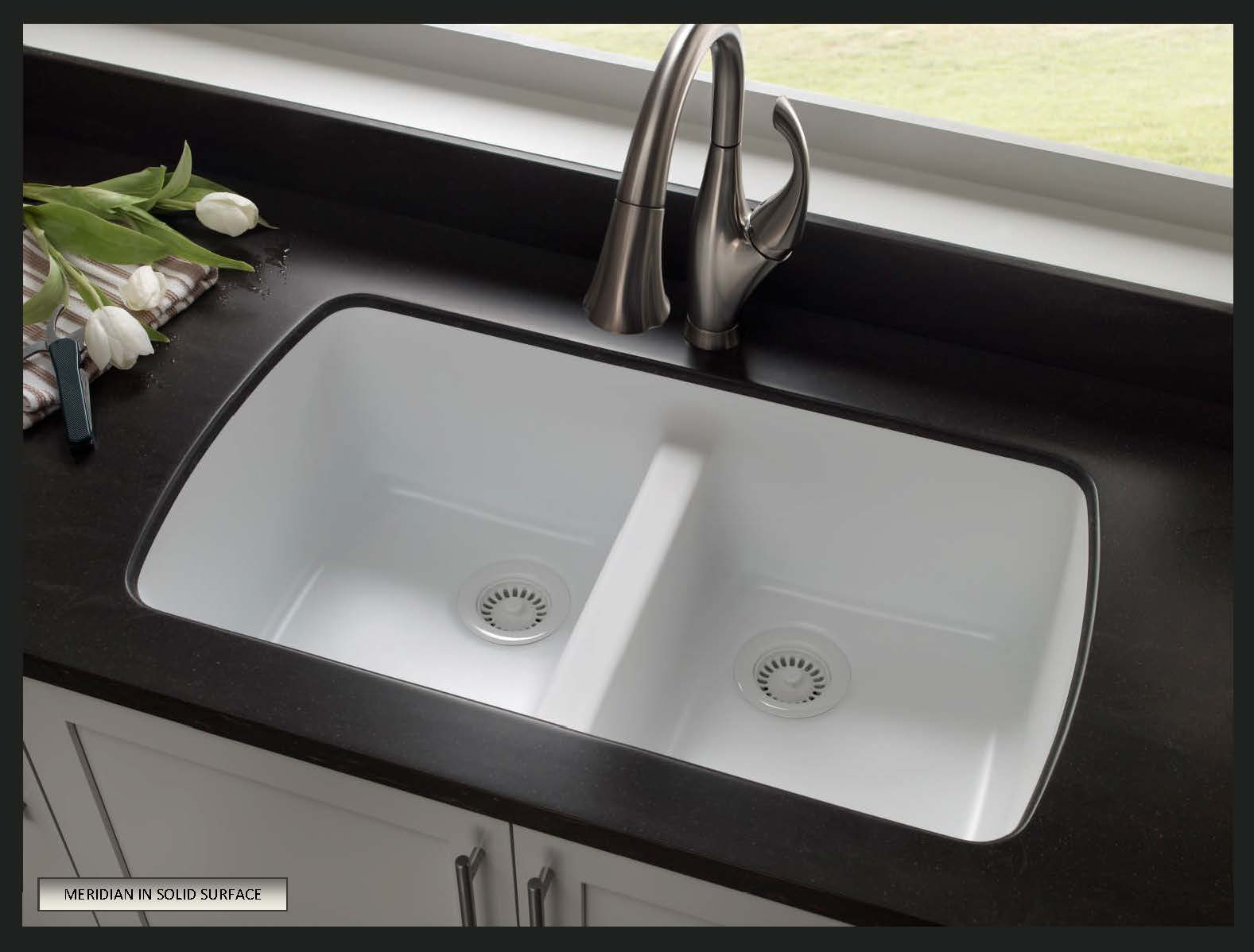 Black Solid Surface Kitchen Sink