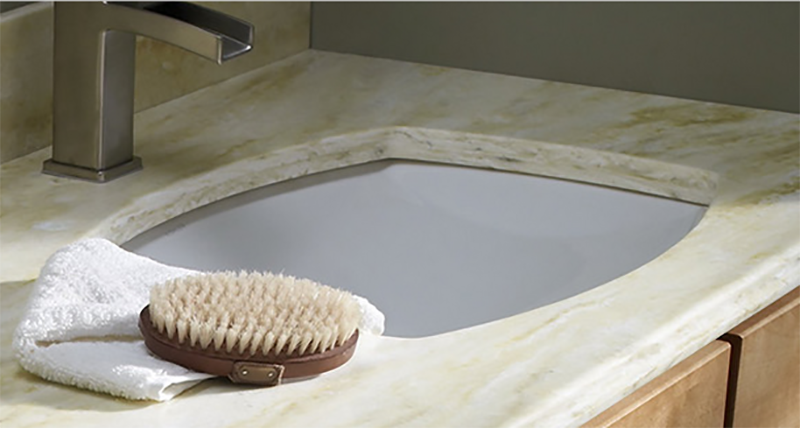 "Image A - Enhanced 1"" Corian® countertop buildup above the sink bowl"