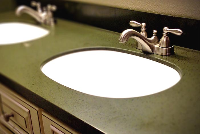 Image B - Standard single thickness Corian® countertop with no extra build-up.