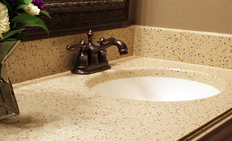 Get the thickness of granite and quartz vanity tops with for Seamless quartz countertops