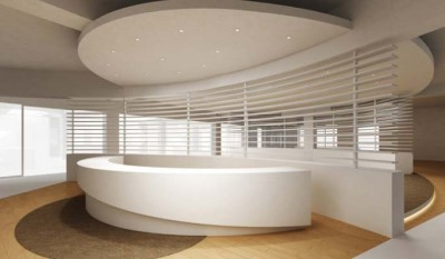 Avonite White Thermoformed Solid Surface in an Education Reception Area,
