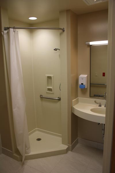 Avonite Solid Surface Shower and Vanity/Sink in a Healthcare Setting