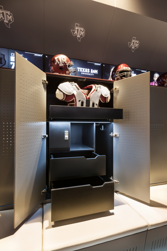 Football Player's Locker, Cabinet and Ventilated Doors of LG HI-MACS  Solid Surface Black and Marta Gray