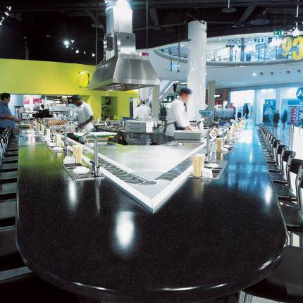 Bar top In Corian® Deep Caviar Solid Surface