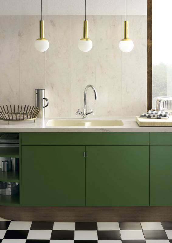 Corian® Solid Surface Residential Sink in Vanilla Paired With a Countertop and Backsplash In Corian® Clam Shell