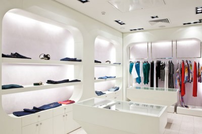 Retail, Avonite White Solid Surface Cabinets and Thermoformed  Display Shelving