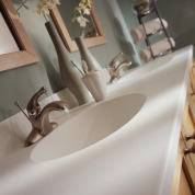Corian Custom Vanity Top with Integrated Corian Sink