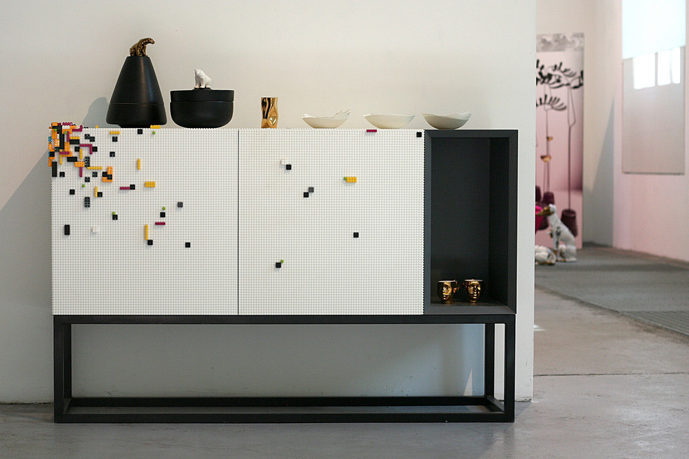 Corian modular furniture panels allow creative building with Legos.