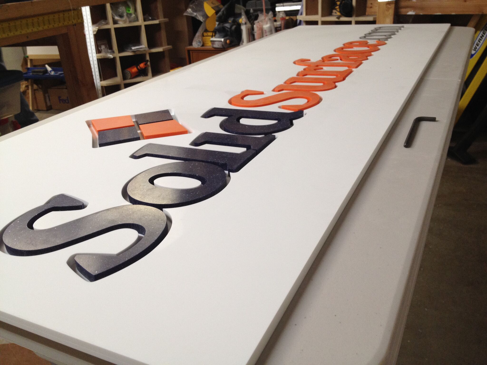 Parts for SolidSurface.com Display Sign made of Solid Surface