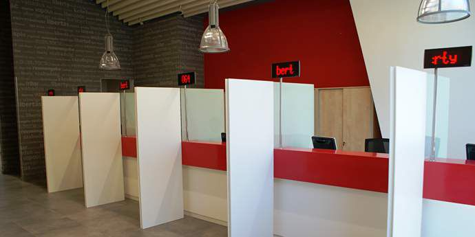 Corian Bank Teller Partitions of Solid Surface