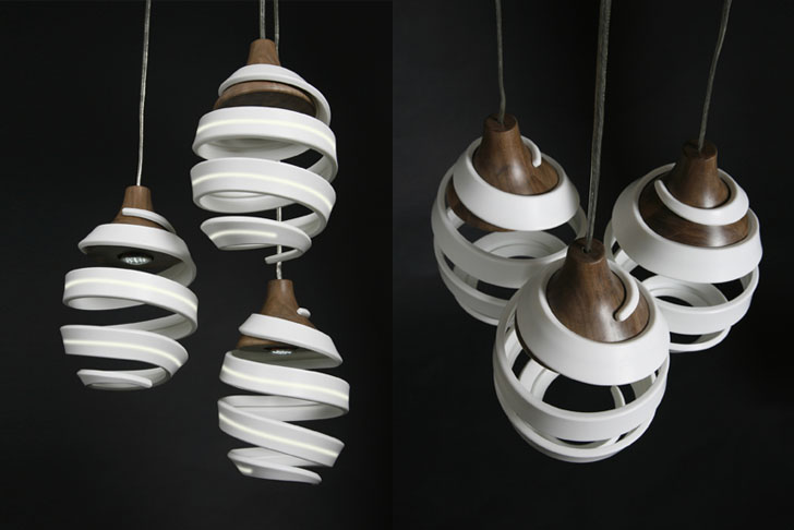 Gregg Parsell's ORIGIN Pendant Lamp Evolves Elegantly from Recycled Materials