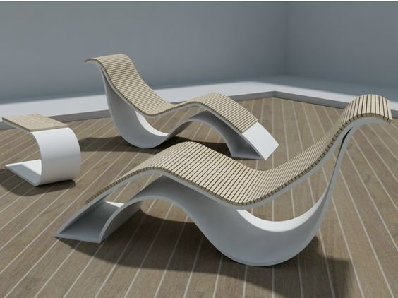 Solid Surface Lounge Chair and Table