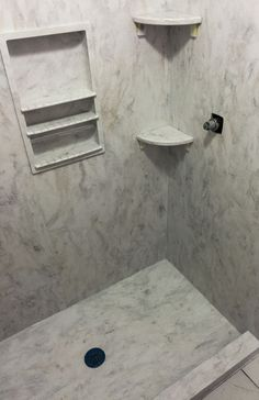 Corian Solid Surface Shower Surround with Storage