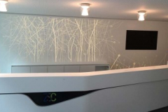 Avonite Solid Surface Reception Area Counter with Backlit Sculpted Paneling as a Back Drop