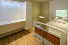 Corian Sand Storm Cabinets and Head Walls in a Healthcare Patient Room