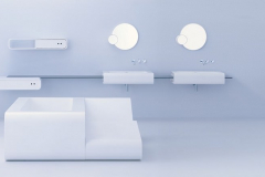 LG HI-MACS Bath Tub , Lounger, Sinks , and Cabinets in LG HI-MACS Alpine White Solid Surface in a Hospitality Setting