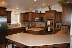 DIY Countertops and Island Made of Many Small Pieces of Solid Surface Glued Seamlessly Together