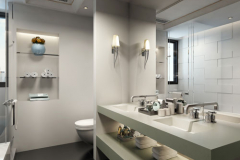Residential Bathroom with Walls, Cabinet and Vanity Top of  LG HI-MACS Solid Surface