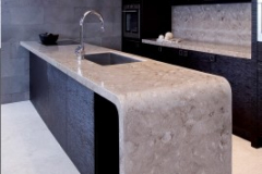 LG HI-MACS Thermoformed Waterfall Edge Kitchen Counter Top in Solid Surface