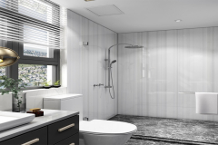 Residential Bath Shower Wall and Vanity Top of LG HI-MACS Strato Cloud Solid Surface
