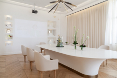 Chinese Hudie Health Spa Meeting Table and Wall Cabinets made from Corian Glacier White Solid Surface