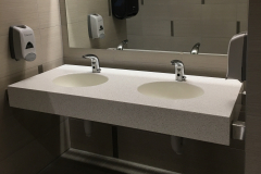 Solid Surface Restroom Vanity Top with Integrated Solid Surface Sinks
