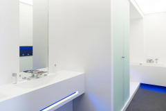 LG HI-MACS Alpine White Solid Surface Shower with Bath Walls and Vanitytop of the same.