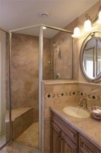 Mystera Solid Surface used for bathroom countertops, shower walls, and wainscoating.