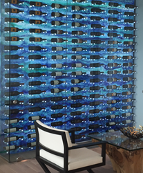 Residential wine wall using Avonite Studio Collection™ Ocean Breeze