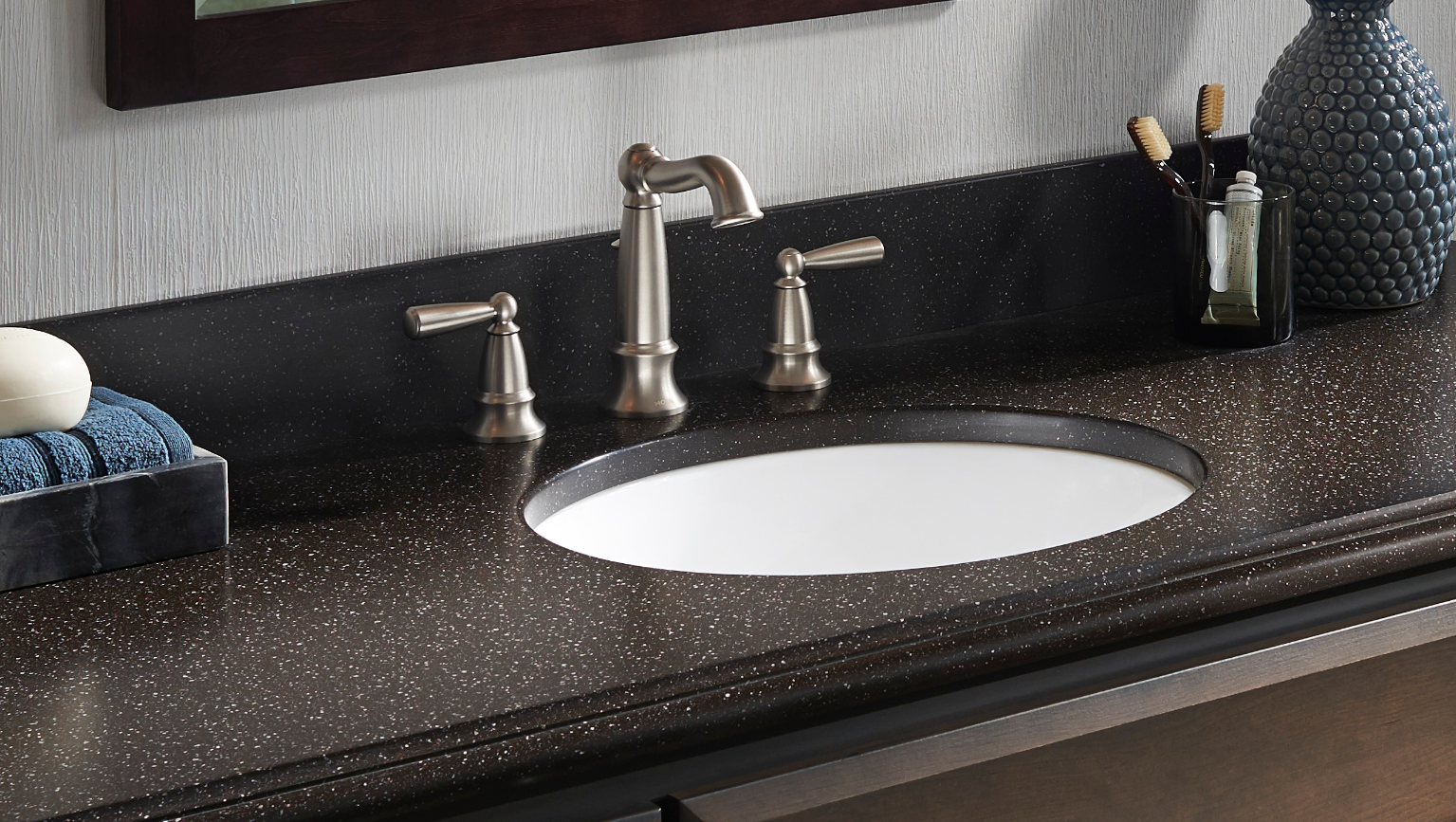 """Corian® solid surface 1"""" sink edge thickness"""